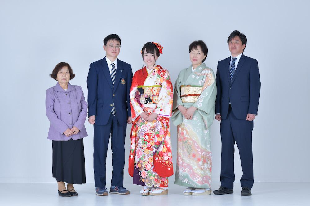 振袖前撮り家族写真